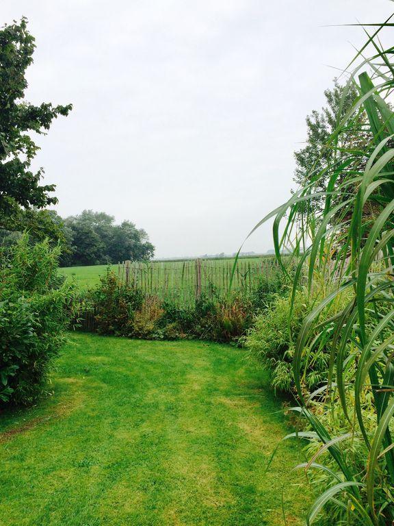 Blick vom Garten auf das Feld hinter dem Haus
