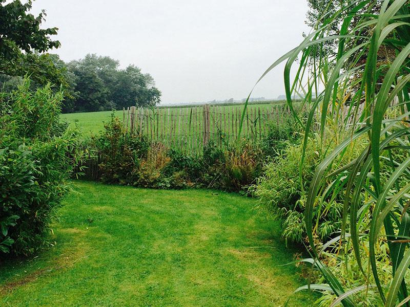 Garten mit Blick auf's Feld